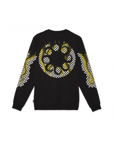 Octopus | Felpa Octopus Checkered Logo Crewneck Black