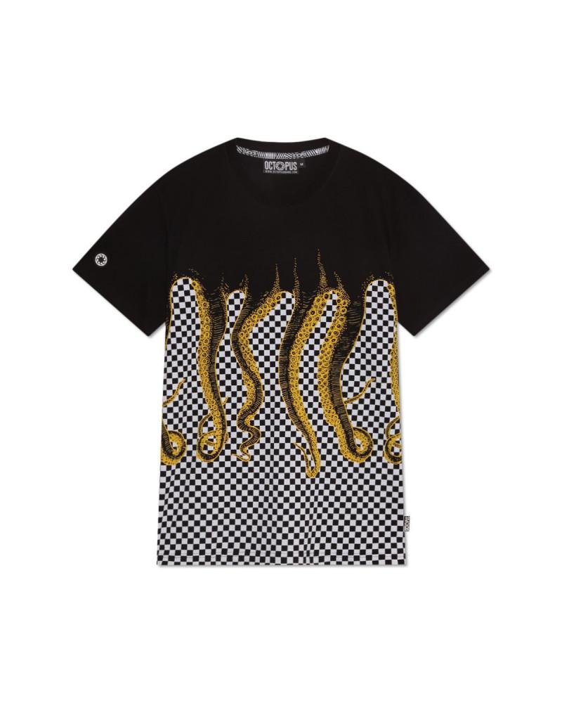 Octopus T-Shirt Checkered Tee - Yellow/Black
