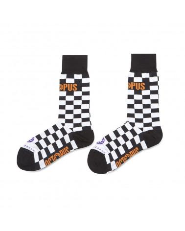 Octopus Checkerd Logo Socks - Black
