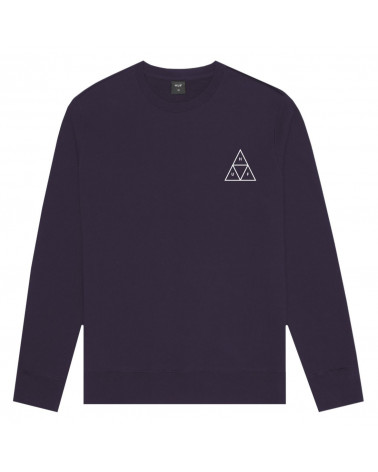 HUF Felpa Essential Triple Triangle Logo Crew Neck - Purple Velvet