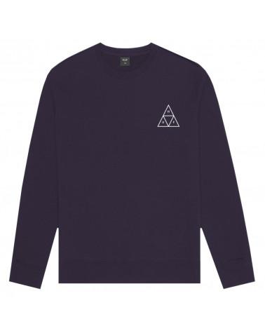 HUF Sweatshirt Essential Triple Triangle Logo Crew Neck - Purple Velvet