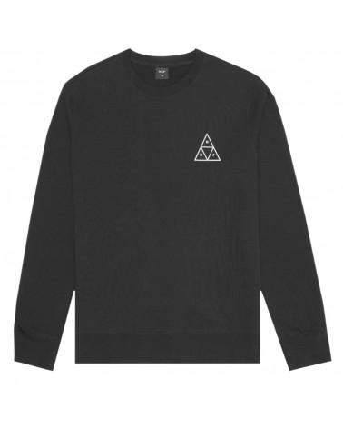 HUF Sweatshirt Essential Triple Triangle Logo Crew Neck - Black