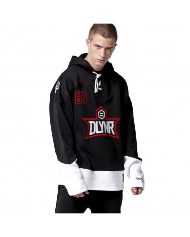 Dolly Noire Sweatshirt Hockey Hoodie - Black/Red/White