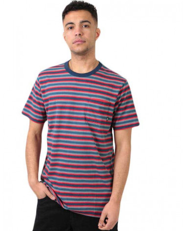 Vans T-Shirt Knollwood Stripe - Stargazer/Racing Red