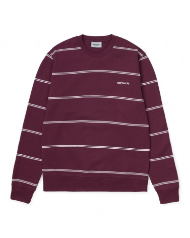 Carhartt WIP Felpa Spacer Sweatshirt - Spacer Stripe/Shiraz/White