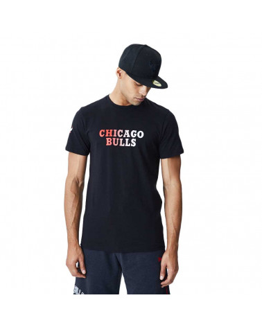 New Era T-Shirt NBA Gradient Wordmark Tee Chicago Bulls - Black