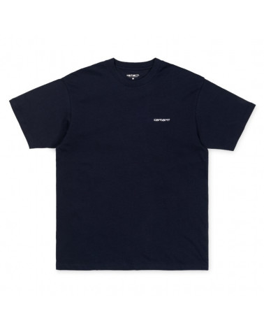 Carhartt Wip Script Embroidery T-Shirt - Dark Navy/White