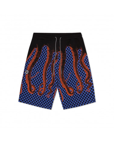 Octopus Checkerd Sweatshort - Black/Orange
