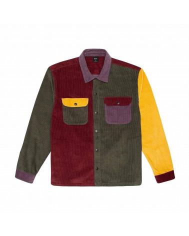 HUF Camicia Cord Block L/S Overshirt - Olive