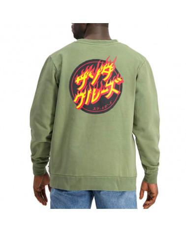 Santa Cruz Sweatshirt Flaming Japanese Dot Crew - Army Green