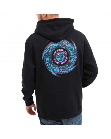 Santa Cruz Sweatshirt Speed Wheels Faces Hood - Black