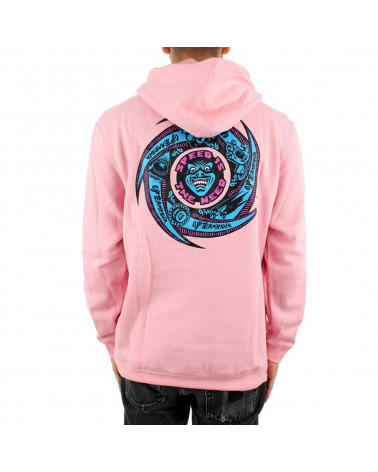 Santa Cruz Sweatshirt Speed Wheels Faces Hood - Pink