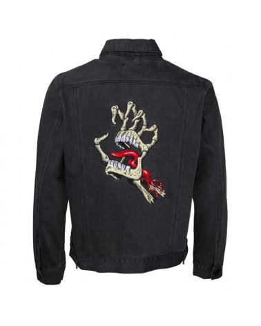 Santa Cruz Vintage Bone Hand Denim Jacket - Black Washed Denim