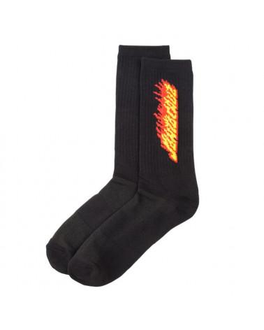 Santa Cruz Flaming Stripe Sock - Black