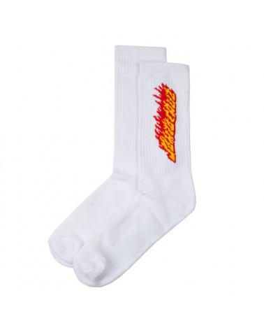 Santa Cruz Flaming Stripe Sock - White