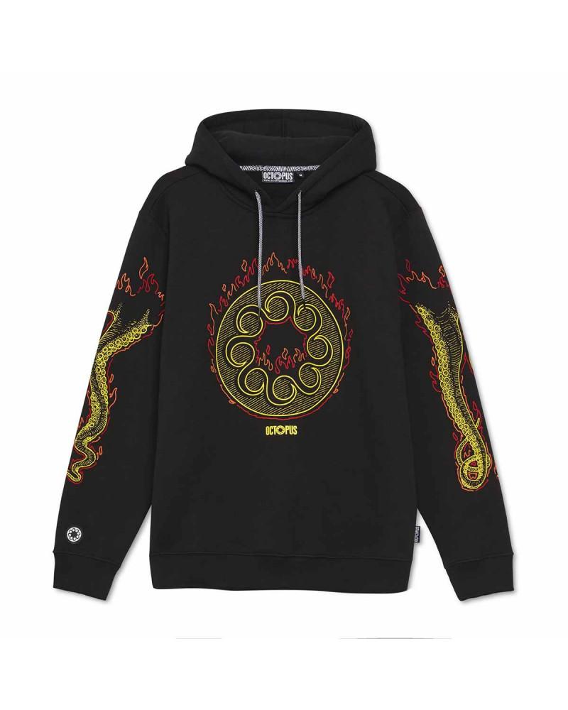 Octopus Sweatshirt Octopus More Fire Hoodie - Black