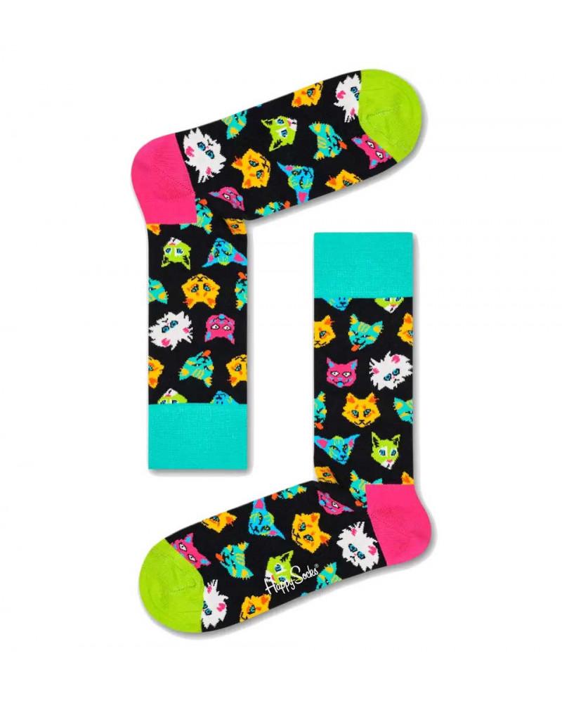 Happy Socks Calze Funny Cat Sock - Black