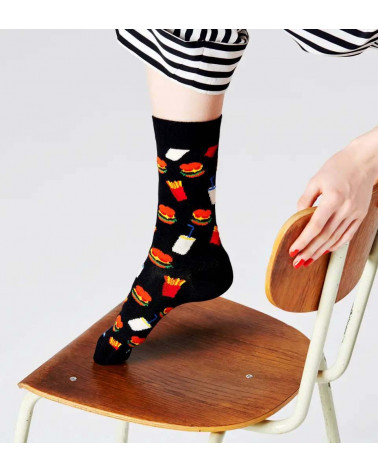 Happy Socks Calze Hamburger Sock - Black