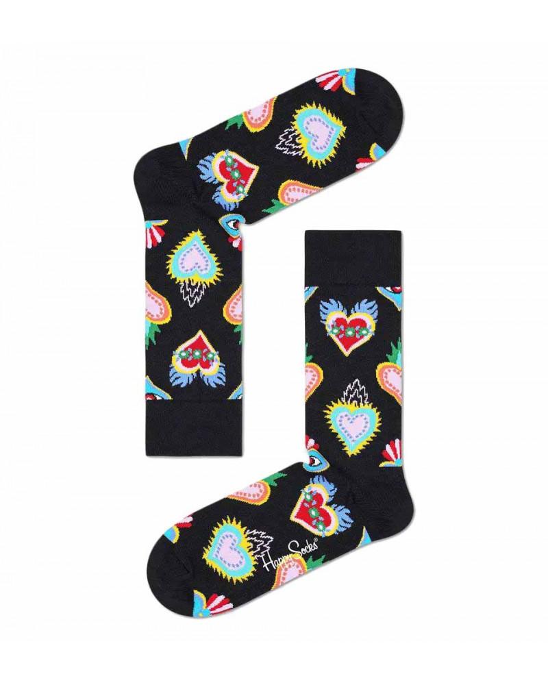 Happy Socks Calze Sacred Heart Sock - Black
