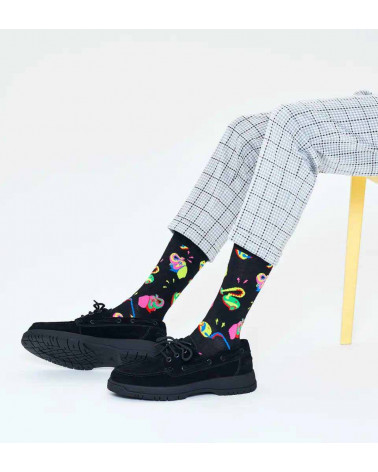 Happy Socks Calze Clean Elephant Sock - Black