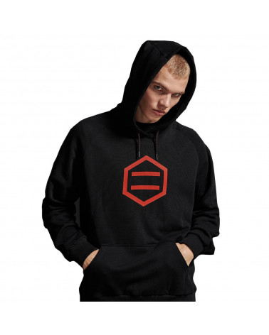 Dolly Noire Felpa Hexagon Hoodie - Black/Red