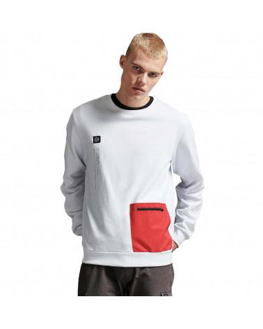 Dolly Noire Sweatshirt Pocket Crewneck - White & Red