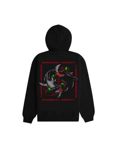 Doomsday Sweatshirt Shark Fight Zip Hoodie - Black