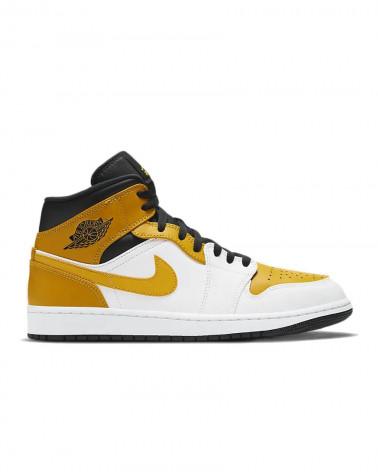 Nike Air Jordan 1 Mid - White/University Gold-Black