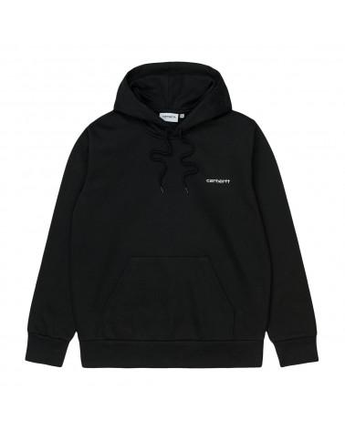 Carhartt Wip Hooded Script Embroidery Sweatshirt Black