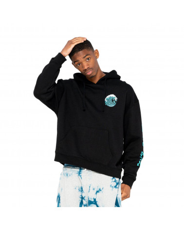 Santa Cruz Sweatshirt Japanese Wave Dot Hood Black