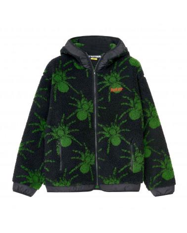 Iuter Jacket Spider Fur Zip Hoodie Black