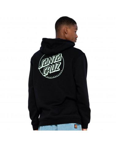 Santa Cruz Sweatshirt Opus Dot Stripe Hood Black