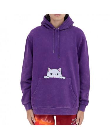RIPNDIP Felpa Peeking Nermal Embroidered Hoodie Purple Mineral Wash