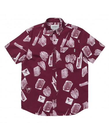 Carhartt Wip - Camicia Flammable Shirt - Print Varnish White