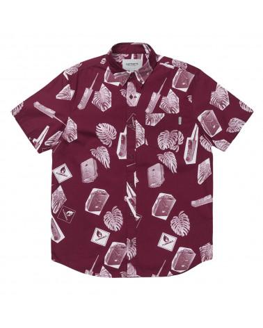 Carhartt Wip - Camicia Flammable Shirt - Print Varnish White