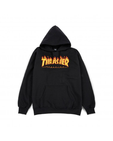 Thrasher Magazine - Sweatshirt Flame Logo Hood - Black