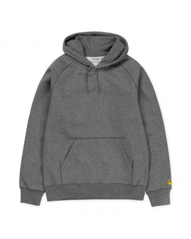 Carhartt - Felpa Hooded Chase - Dark Gray Heather/Gold