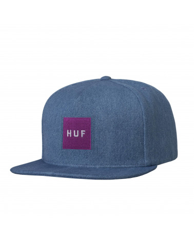 HUF - Denim Box Logo Snapback - Bleached Denim