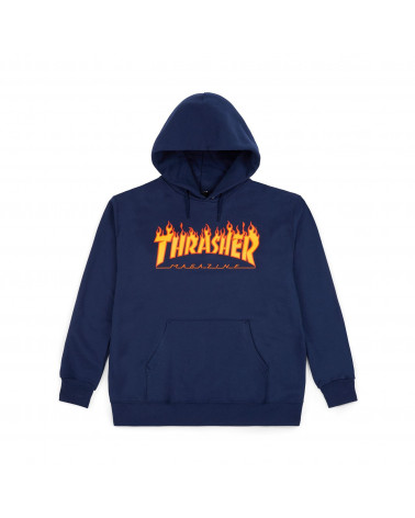 Felpe Thrasher Magazine - Felpe Flame Logo Hood - Navy