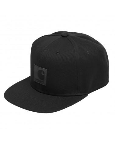 CARHARTT WIP LOGO CAP Hamilton Brown Black Snapback Baseball Berretto Marrone Nero